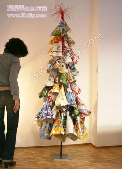 Christmas tree made from food packaging