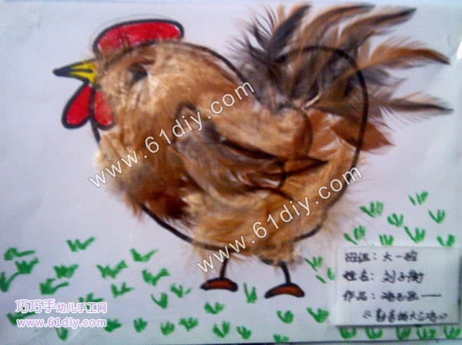 Feather painting - hen