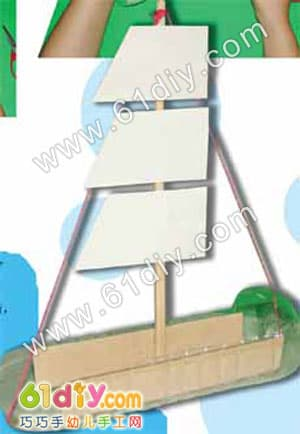Handmade illustration of waste sailboat