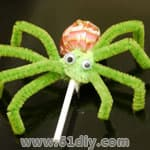 Lollipop hairy spider handmade