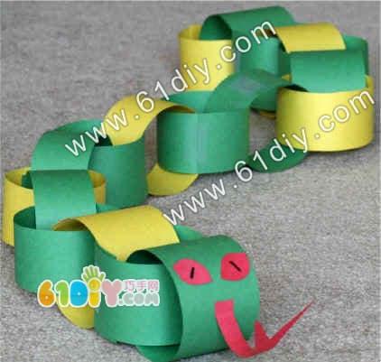 Paper chain snake handmade