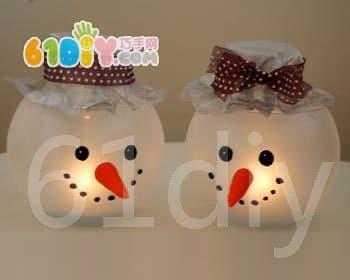DIY Christmas Snowman Candle Holder