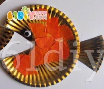 Golden paper fish handmade