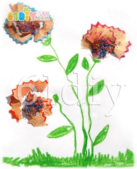 Pencil shavings - spring flowers