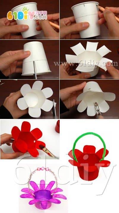 Beautiful paper cup flower basket handmade