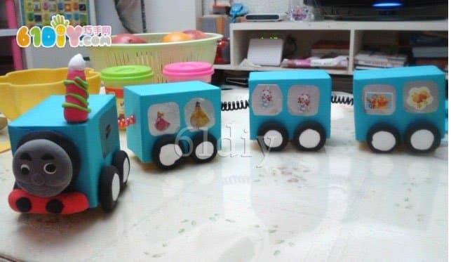 Handmade Thomas train in the carton