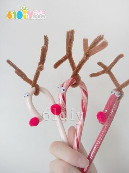 Christmas ornaments - candy cane making reindeer