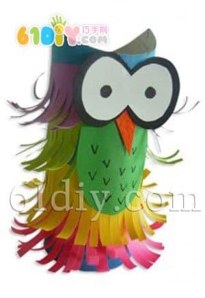 Children's paper tube handmade - funny owl