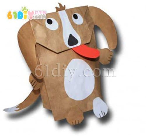 How to make a puppy hand puppet toy with a paper bag