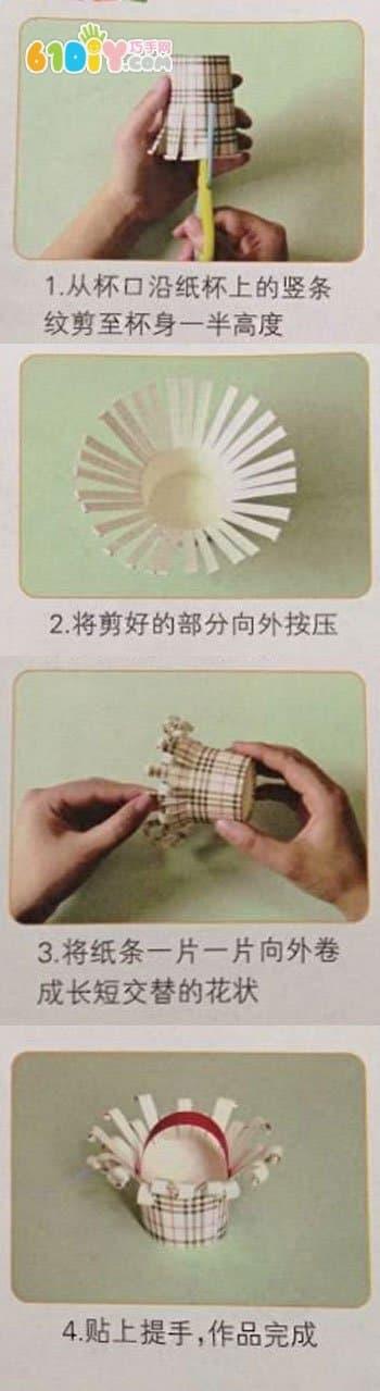 Small children's waste utilization: paper cup basket