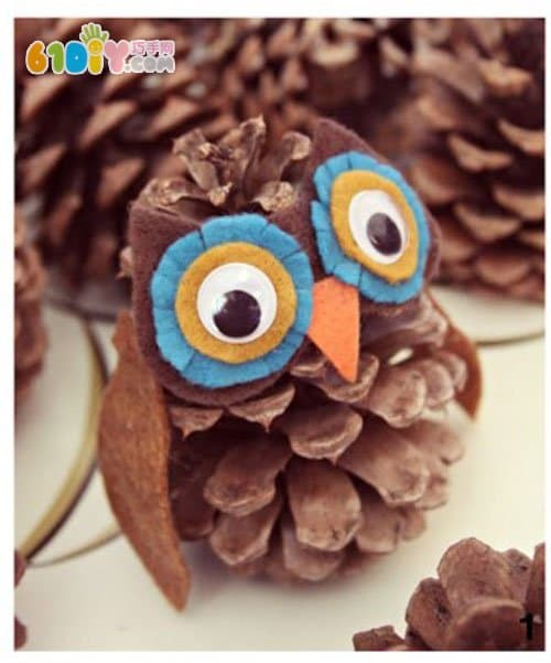 Another pine cone owl DIY production