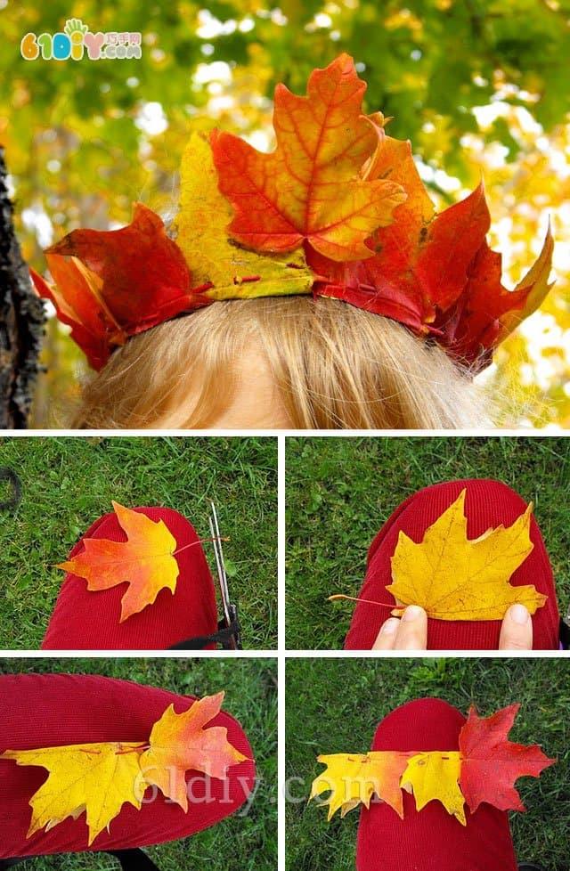 Children's handmade leaf crown