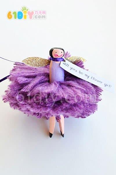 Handmade wooden clip doll - flower wizard