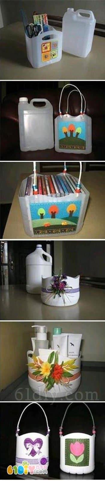 Plastic bucket handmade various storage baskets