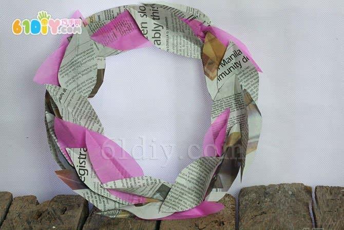 Newspaper waste utilization making wreath