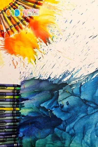 Wonderful crayon hot melt painting