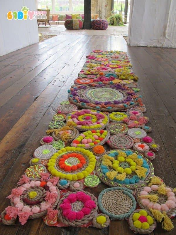 Handmade flower-like mats