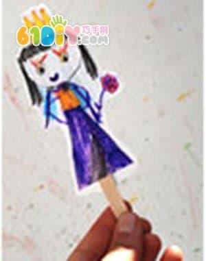 Ice cream stick hand puppet
