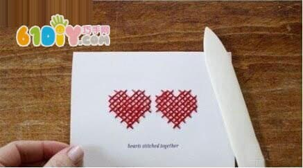 Greeting card DIY production: cross stitch love