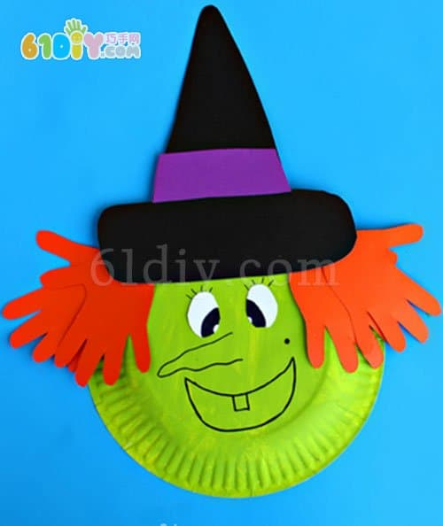 Halloween DIY making paper plate witch