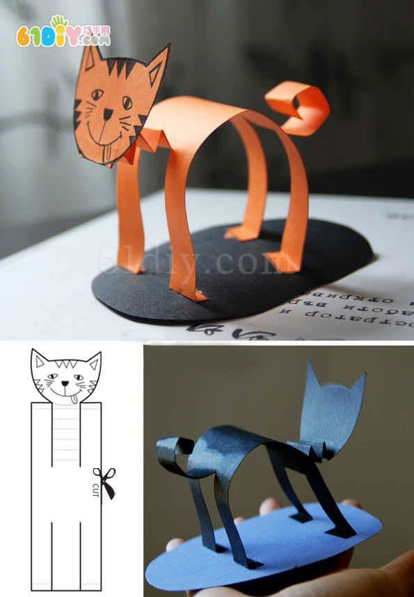 Three cute three-dimensional kittens handmade