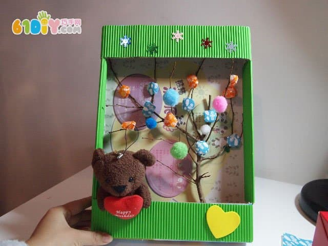 Waste carton handmade wishing tree