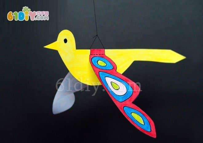 Creative handmade bird in spring