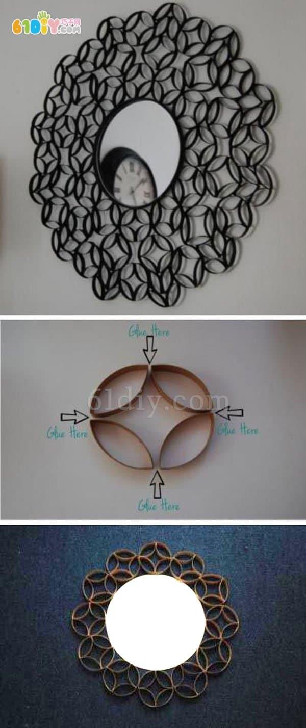 Creative roll paper core DIY decorative mirror