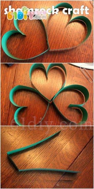 Spring arrangement, three-dimensional clover ornaments