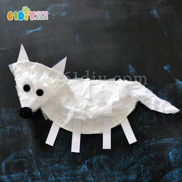 Paper tray animal handmade cute arctic fox making