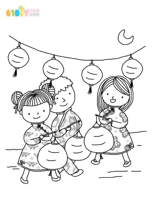 Chinese New Year custom cartoon coloring map