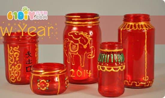 Waste bottle DIY Spring Festival red lantern