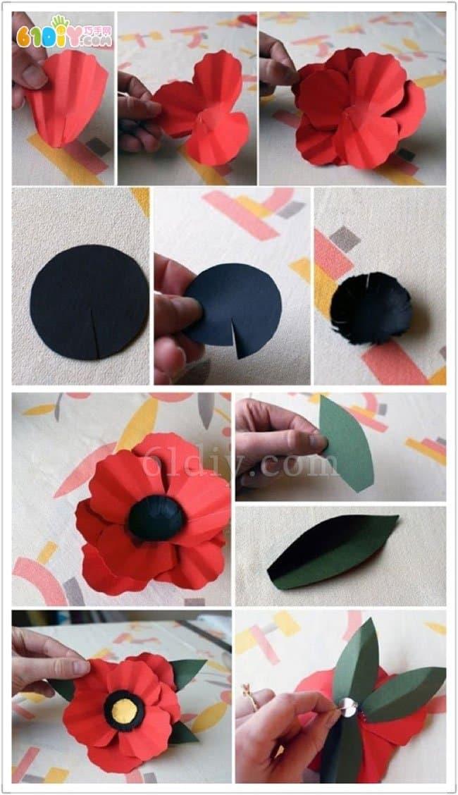 Three-dimensional paper art handmade brooch production