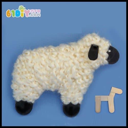 Year of the goat handmade ice cream stick wool lamb