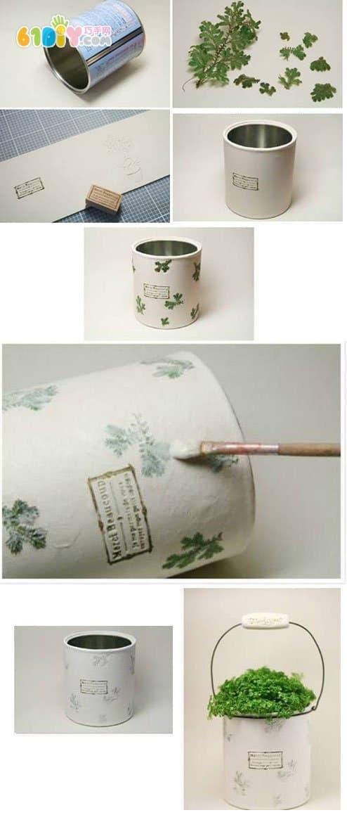 Milk powder jar making beautiful flower pot