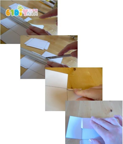 Square gift box making process and template