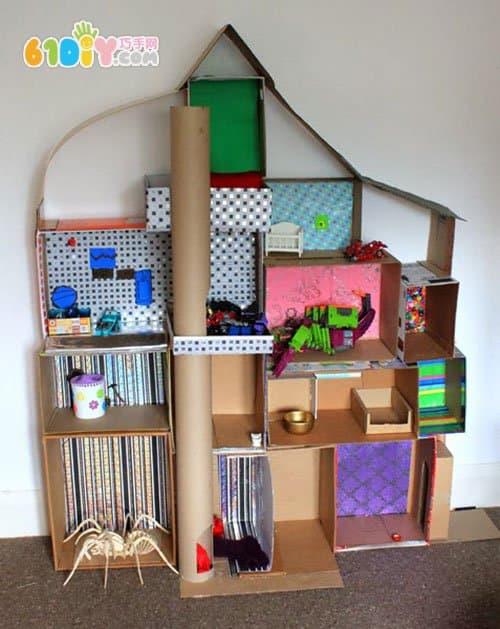 Waste carton making doll house