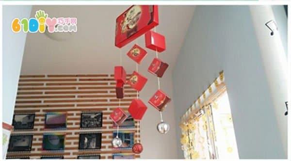 Handmade lantern made from mooncake box