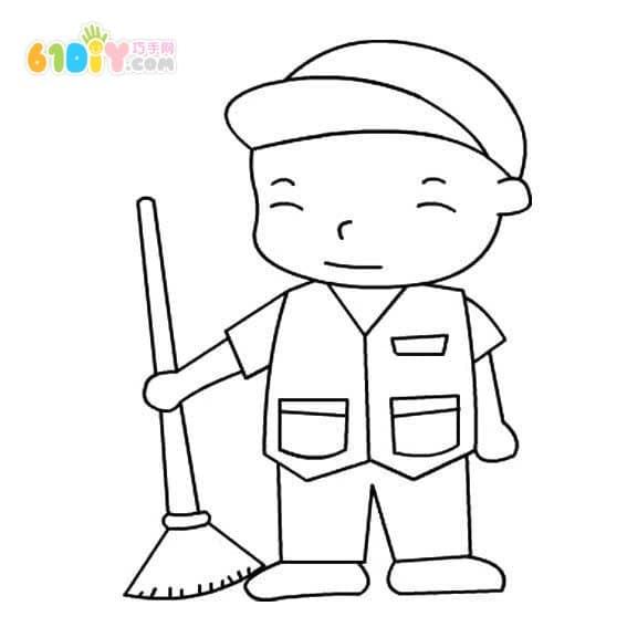 Sanitation worker stick figure
