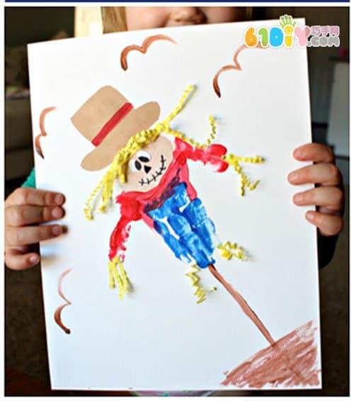 Children's fun painting, hand print, scarecrow