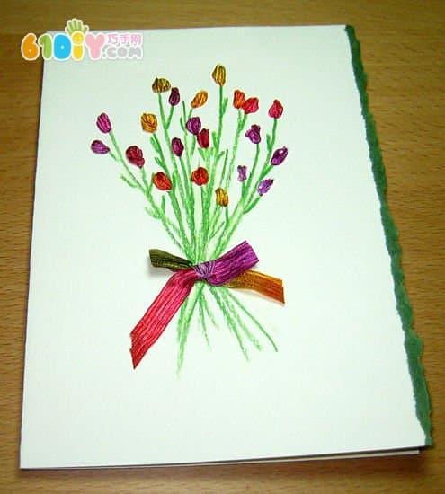 Children's handmade Thanksgiving ribbon bouquet card making