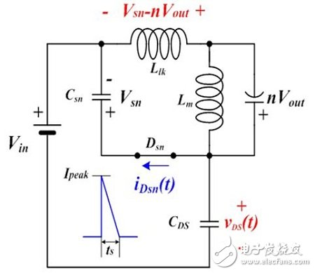 Equivalent circuit during snubber diode turn-on