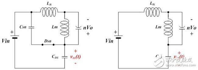 Equivalent circuit for each mode displayed after turning off the main switch