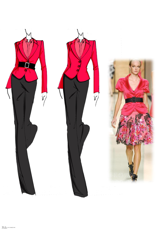 2012春夏女装设计手稿,女装色彩面料设计款式图(图1)