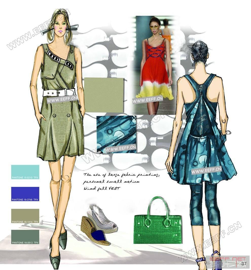 2012春夏女装设计手稿,女装色彩面料设计款式图(图2)