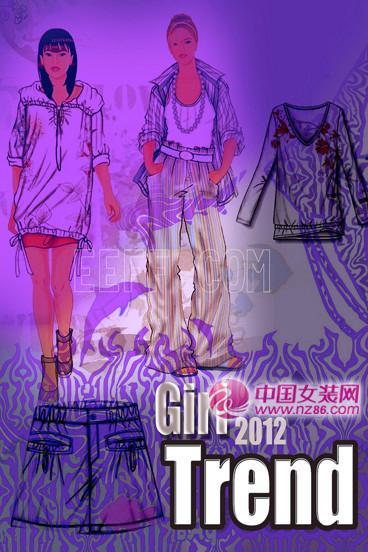 2012春夏女装设计手稿,女装色彩面料设计款式图(图3)