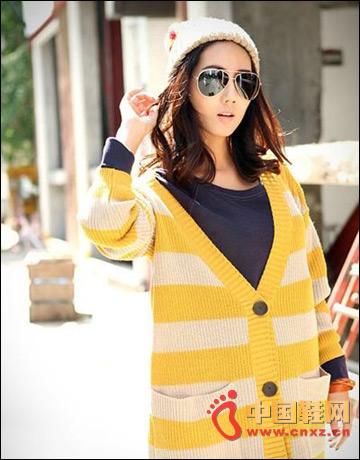 Simple large pocket striped knit cardigan