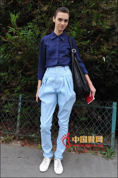 Dark blue shirt with light blue harem pants