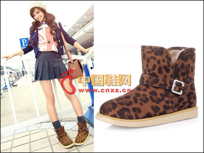 Leopard-printed wild snow boots