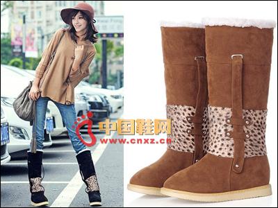 Leopard stitching snow boots